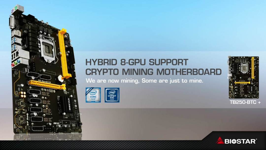 Hybrid 8-gpu support crypto mining motherboard