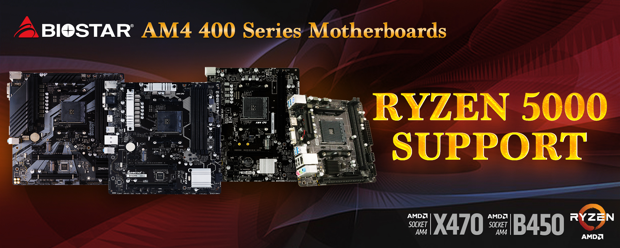 BIOSTAR AM4 400 series motherboards support AMD Ryzen 5000